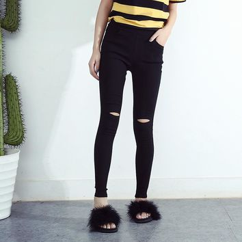 Womens Woven Hole Legging Pencil Pants Ripped Jeans