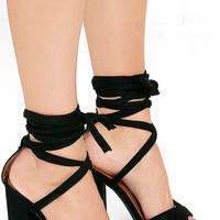 Hop, Skip, and a Leap Black Suede Lace-Up Heels