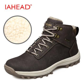 Men Boots Men Winter Snow Boots Keep Warm Leisure Boots Inside Fluff Male Rubber Work Shoes Outdoor Tactical Boots MH505