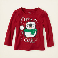 baby girl - graphic tees - Christmas penguin graphic tee | Children's Clothing | Kids Clothes | The Children's Place