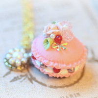 French macaron necklace, rose macaroon jewelry, handmade fake pastry cake, lolita accessories, roses and berries pendant, gift under 20