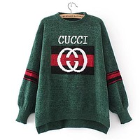 GUCCI Women Fashion Irregular Knit Top Sweater Pullover