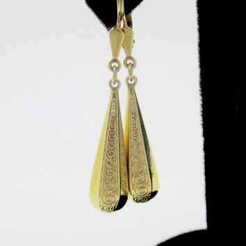 Vintage 14K Gold Boho Gypsy Style Dangle Earrings