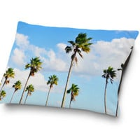 North Beach Palms 2 - Pet Bed, Palm Trees Surf Style Pet Bedding, Blue & Green Coral Fleece Pillow Bed Dog Cat Accessory. Small Medium Large