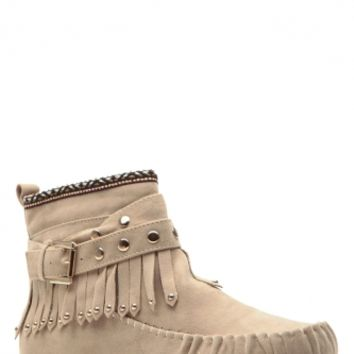 Tribal Touch Taupe Fringe Moccasin Boots @ Cicihot Boots Catalog:women's winter boots,leather thigh high boots,black platform knee high boots,over the knee boots,Go Go boots,cowgirl boots,gladiator boots,womens dress boots,skirt boots.
