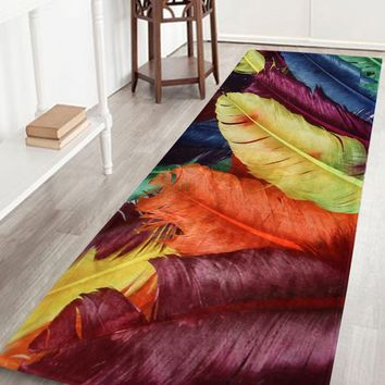 Colorful Feather Coral Fleece Bathroom Rug