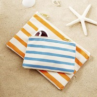 Preppy Stripe Canvas Pouch