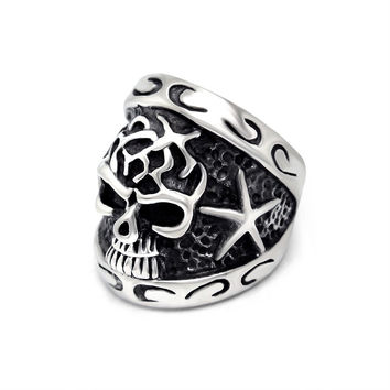 New Arrival Gift Jewelry Shiny Korean Stylish Strong Character Titanium Accessory Relief Sculpture Skull Ring [6544851459]