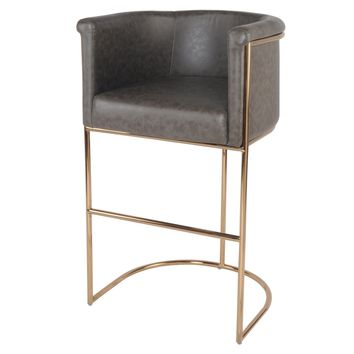 Colm PU Leather Bar Stool, Vintage Rye Gray
