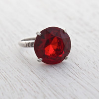 Vintage Ruby Red Glass Stone Ring - Mid Century Sterling Silver Signed Vargas Size 7 Cocktail Ring Jewelry / Statement Solitaire