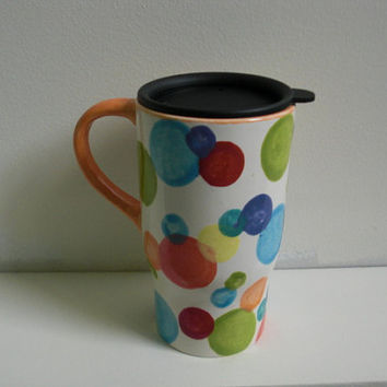 Bright Polka Dot Ceramic Travel Car Mug with Lid in by InAGlaze
