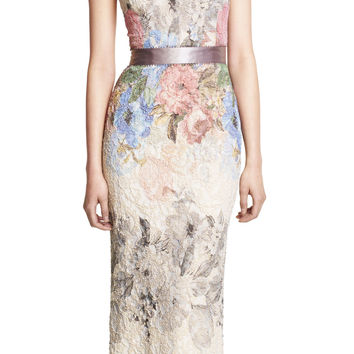 Draped Neck Mermaid Floral Jacquard Gown - Adrianna Papell