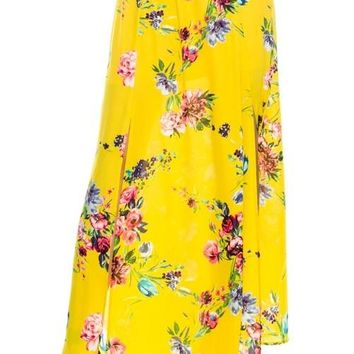 Yellow Floral Maxi Skirt With A Side Slit