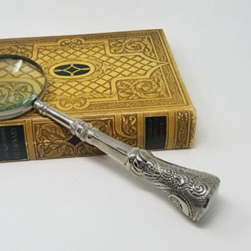 Vintage Large Ornate Shiny Steel Handle Magnifying Glass