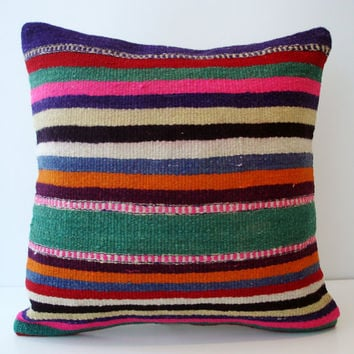 Sukan / Hand Woven Turkish Striped Kilim Pillow Cover by sukan