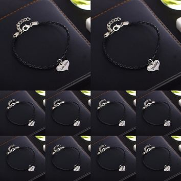 Charm Black Leather Chain Bracelet Crystal Heart Bracelets Bangle Family Love Daddy Mommy Sister Sis BFF Friends Gifts Wristband