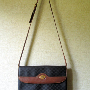 Gucci Shoulder Bag clutch purse crossbody long strap designer handbag brown leather black monogram canvas elegant hipster vintage 70s 80s