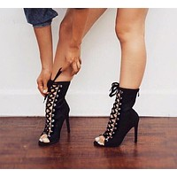 Lace Up High Heel Open Toe Gladiator Boots