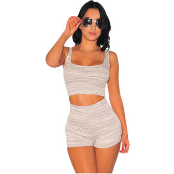 Cfanny 2016 New Rompers Women Jumpsuits White Gray Marled Cut Out Romper Shorts Sexy Bodycon Jumpsuit Summer Playsuit Overalls