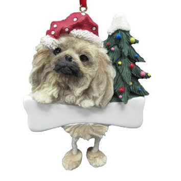 "Pekingese Ornament with Unique ""Dangling Legs"" Hand Painted and Easily Personalized Christmas Ornament"