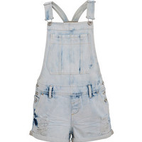 Blue Acid Wash Ripped Utility Dungarees