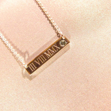 Personalized Bar Necklace High Quality. Sterling Silver, 14k Gold, and Gold Plated. Engraving and Stone options.
