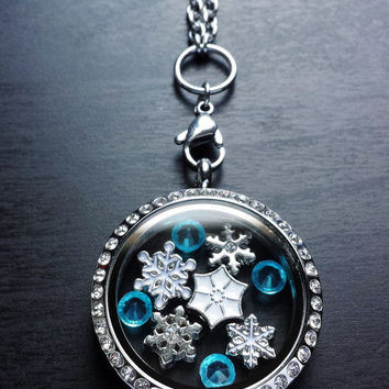 Floating Locket Knecklace-Includes Locket, Charms, Crystals,  & Chain-Winter Theme-Snowflakes-Gift Idea