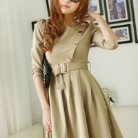 New Fashion Apricot Round Neck Dresses : Wholesaleclothing4u.com
