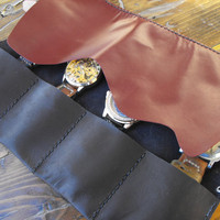 Travel watch roll, leather watch holster, leather watch roll