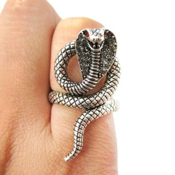 Realistic Cobra Snake Shaped Textured Animal Ring in Silver | US Size 7 to 9
