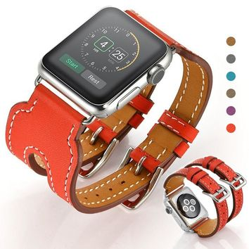 Double Buckle Cuff Leather Band Strap Replacement With Classic Metal Buckle for Apple Watch 38mm 42mm