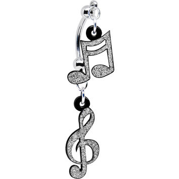 Silver Glitter Acrylic Music Note Treble Clef Double Mount Belly Ring