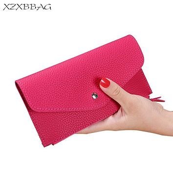 XZXBBAG Fashion Women Long Wallet Multiple Card Holder Envelope Purse Ladies Zipper Hasp Money Bag Clip Female Handbag XB013