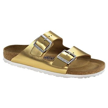 Birkenstock Classic Arizona Smooth Leather Regular Fit Soft Footbed Metallic Gold | Best Deal Online