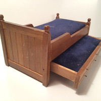 Vintage Dollhouse Trundle Bed 2 Blue Velvet Matresses Hideaway Bedroom Mini Miniature Wood Wooden Furniture Doll House Victorian Mid Century