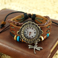 Brown Leather Wrap Around Dragonfly Charm Watch
