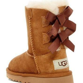 DCCK8X2 UGG Australia | Bailey Bow Genuine Sheepskin Lined Boot (Toddler) | Nordstrom Rack