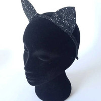 Glitter Kitty Cat Ears Headband Halloween Fancy Dress Cat Woman Hairband, Cat Headband - 30 cols available