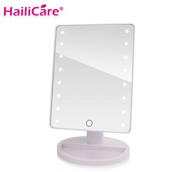 LED Touch Screen Makeup Mirror Professional Vanity Mirror With 16/22 LED Lights Adjustable Countertop 180 Rotating