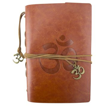 OM Symbol Brown Leather Journal Planner Organizer