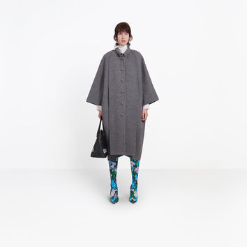 Women's Mottled Grey Panel Cristobal Coat | Balenciaga