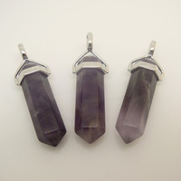 1PC Healing Crystal Gemstone Purpe Amethyst Point Pendant Pendulum, Crystal Point Kids Gift, Birtday Gift