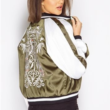 Megan McKenna Khaki Embroidered Bomber Jacket at misspap.co.uk
