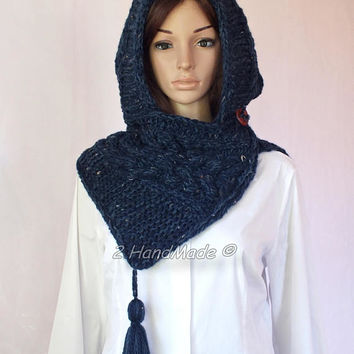 Hand Cable Knit Hooded Boho Style Scarf Merino Wool Acrylic Jeans Blue Tweed Yarn Pom Pom Hat Hood  Chunky Hooded Cowl Winter