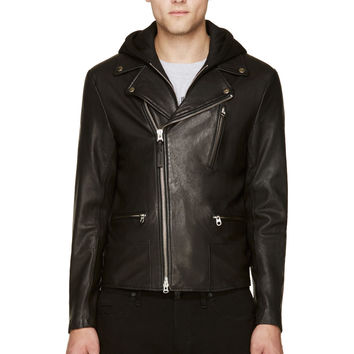 Mackage Black Layered Lambskin Mike Biker Jacket
