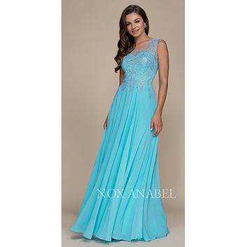 Sleeveless Long Formal Dress Embroidered Bodice Aqua-Silver