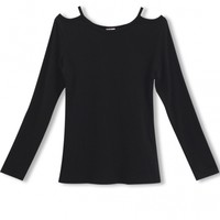 Cutout Shoulder Black Long Sleeve Slim Tee