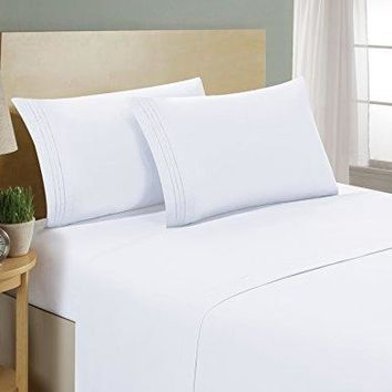 1800 Series Egyptian Collection 3 Line Microfiber 4 Piece Bed Sheet Set (King, White)