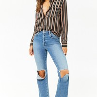 Striped Curved Hem Shirt