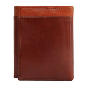 Women's 100% Genuine Leather -- Compact Trifold Wallets-The Jill-- Two Tone --Honey